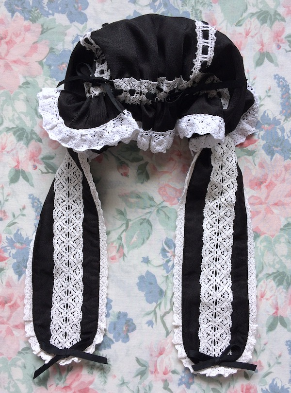 black and white rabbit ear mob cap