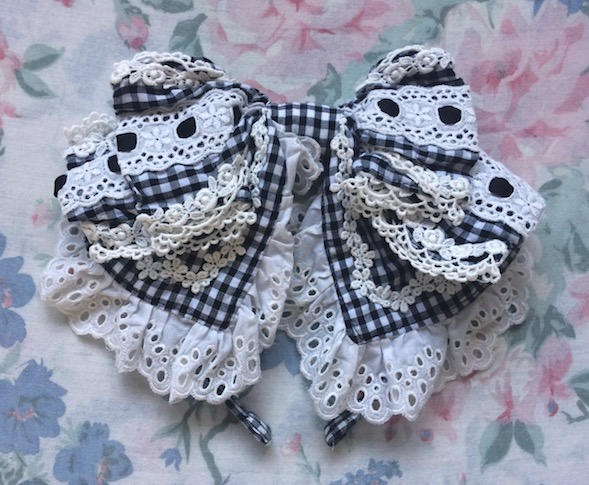 gingham check head bow