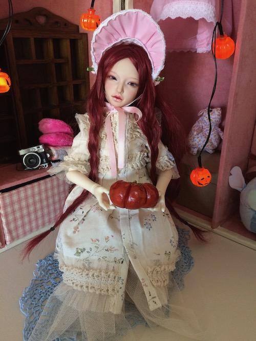 Eden with Halloween pumpkin