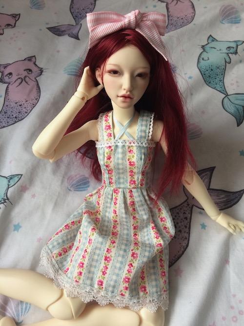 Eden in gingham rose dress