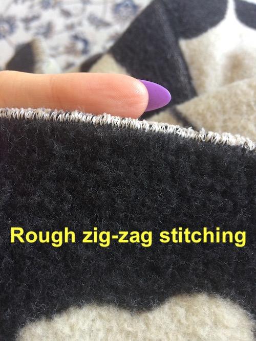 zig zag stitched hem
