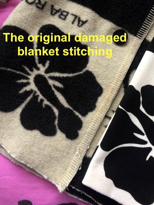 damaged blanket stitching