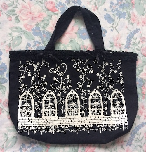 black and white window print bag