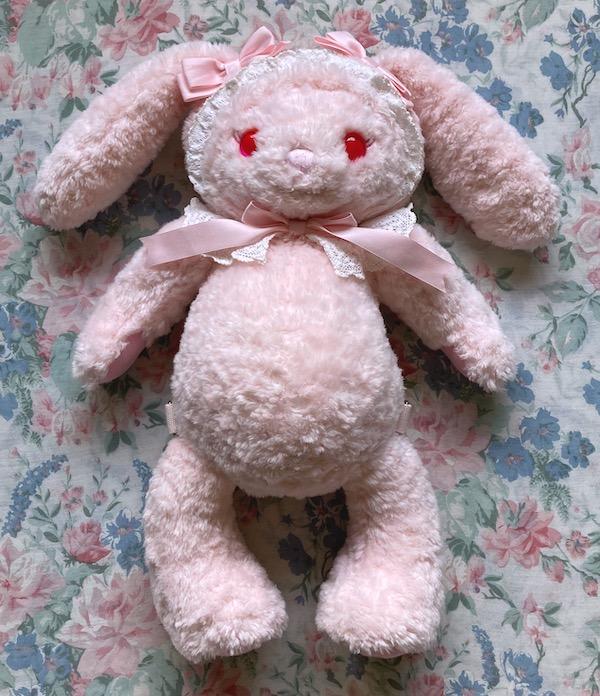 big pink bunny bear plush bag