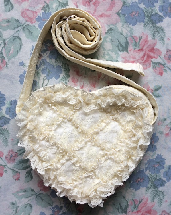ivory heart shaped lace bag