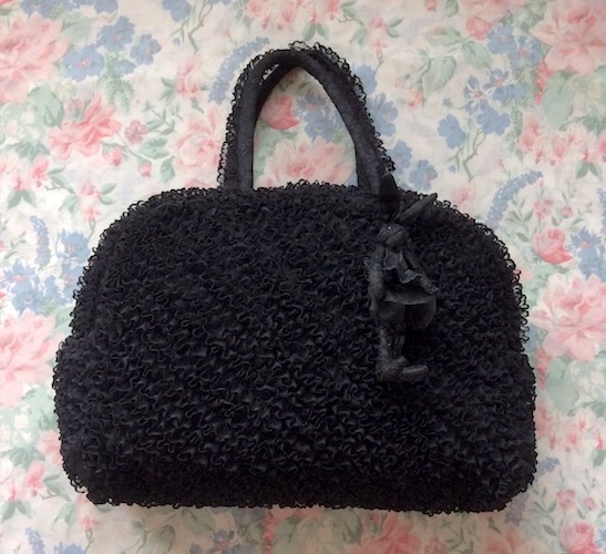 black lace bag with small lace rabbit