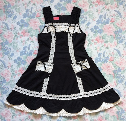 black and white hem scallop jsk