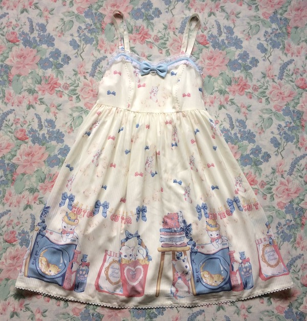 cream cat print dress