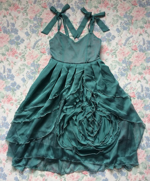dark green flower jsk