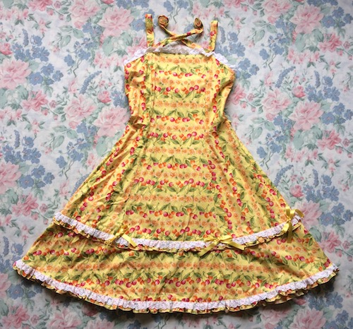 yellow cherry print dress