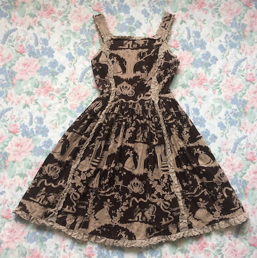 brown cinderella print dress