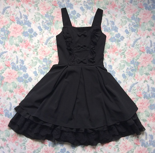 black dress with bows