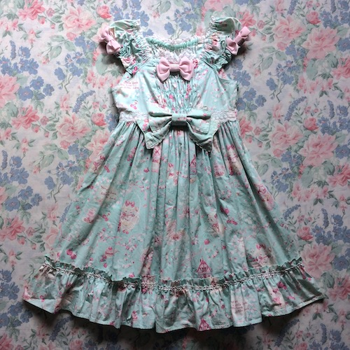 mint dress with sheep print