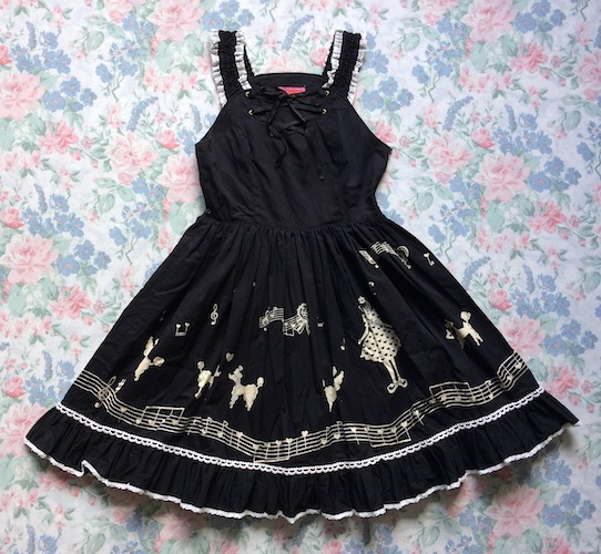 black and white poodle print dress