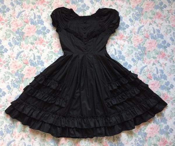 black bodyline ruffle dress