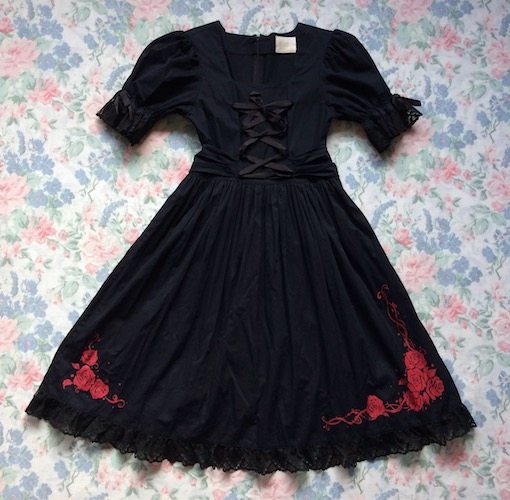 black and red rose dress