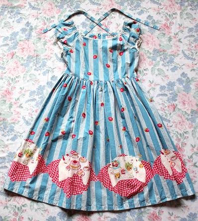 Blue Picnic Print Dress