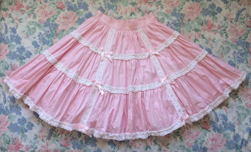 pink and white tiered skirt
