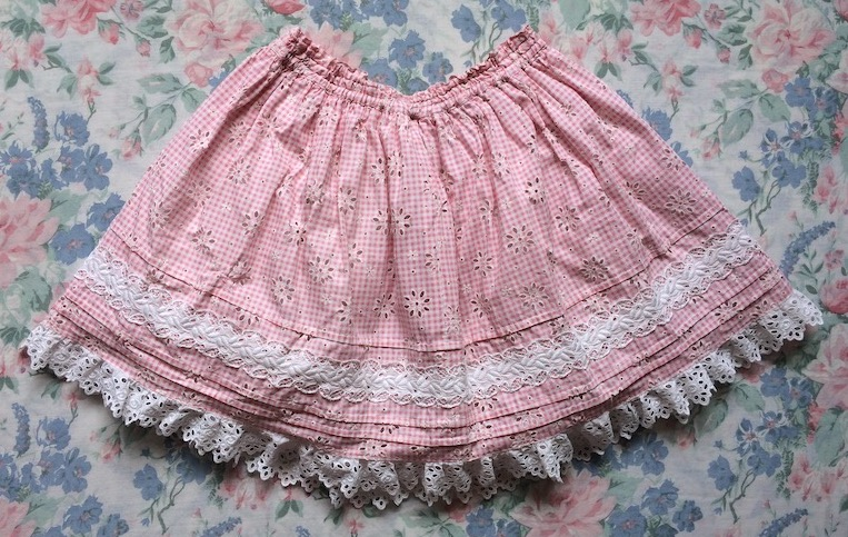 pink gingham skirt with cotton lace