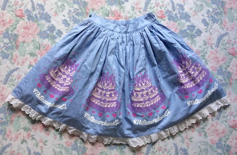 blue cake print skirt