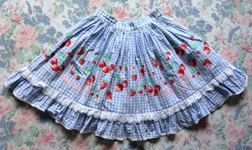 blue gingham skirt with cherries