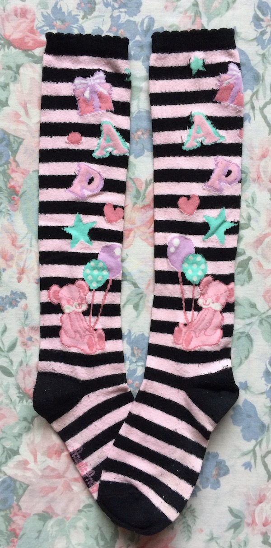 black and pink striped socks