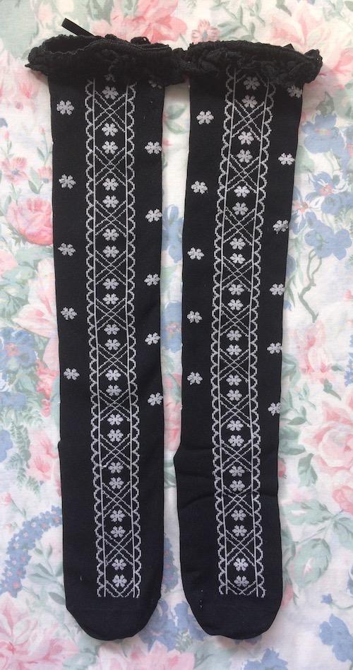 black and white flower socks