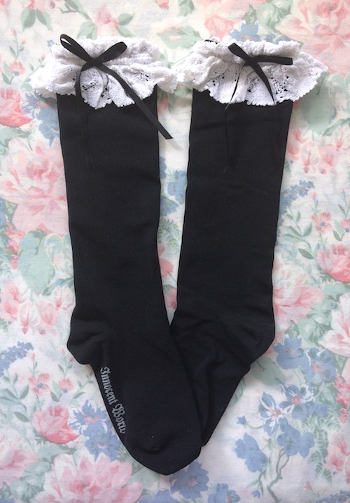 black and white lace top socks
