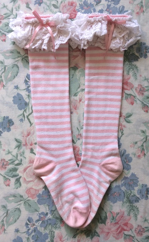 pink striped socks