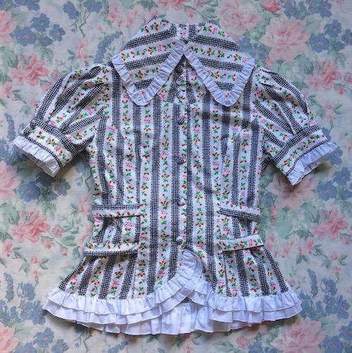 black and white gingham stripe blouse