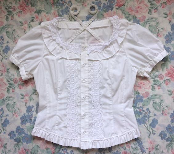 white square neck blouse