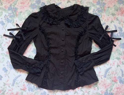 black meta blouse