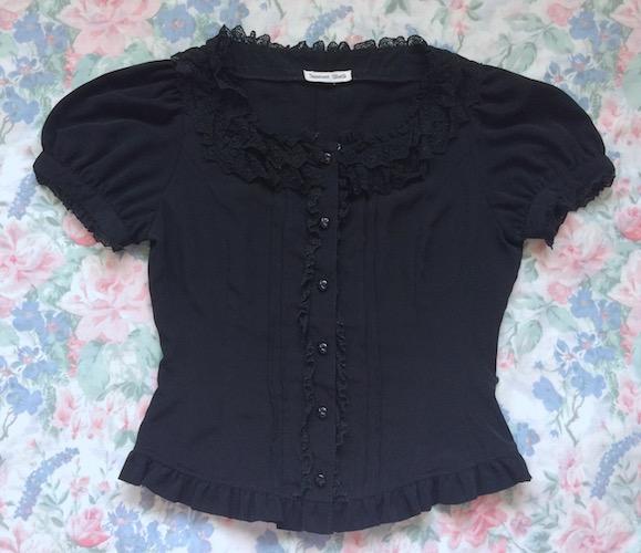black square neck blouse