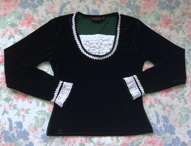 dark green and white velvet top