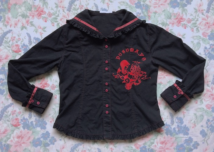 black and red sailor collar blouse