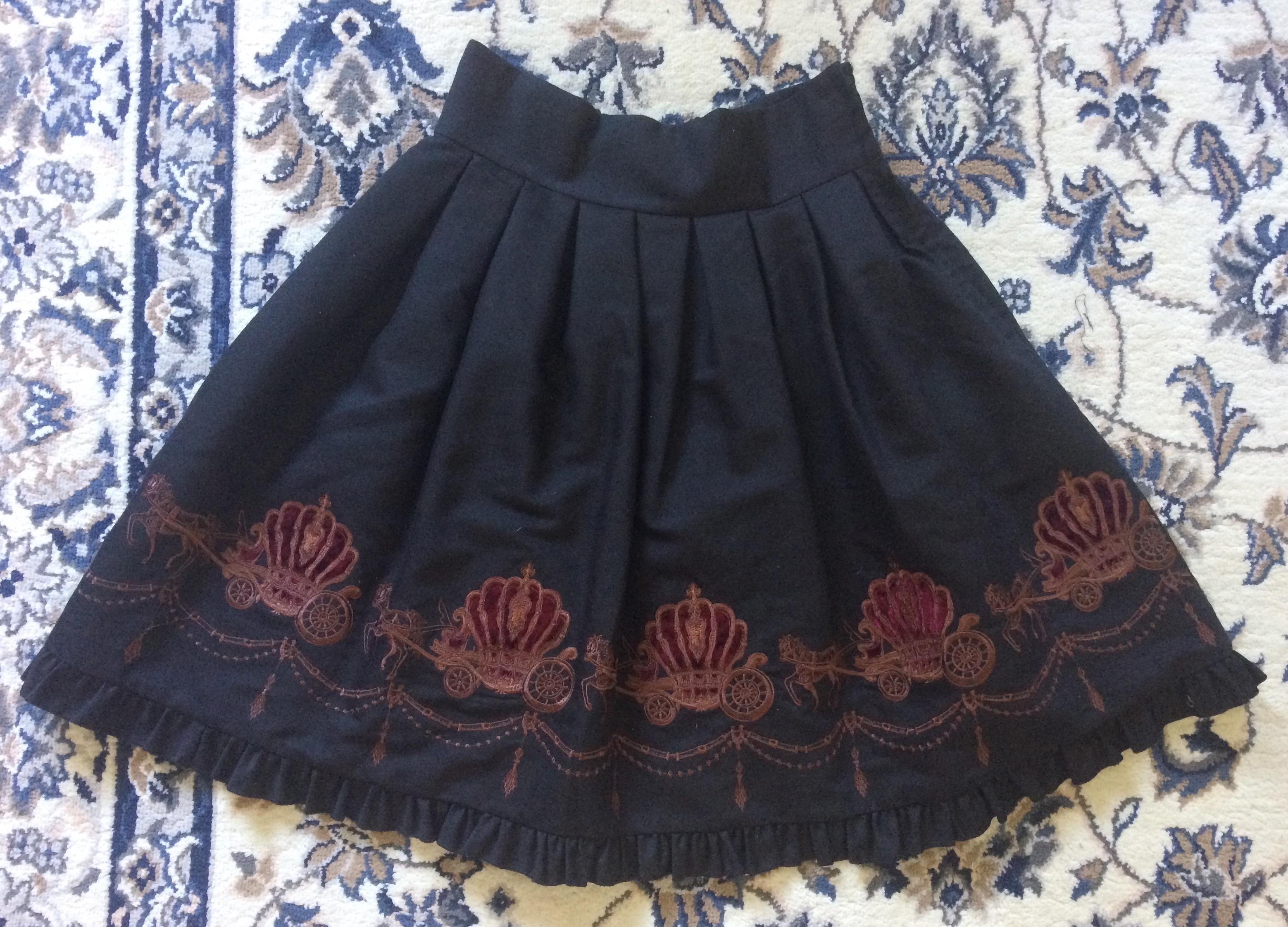 black carriage print skirt