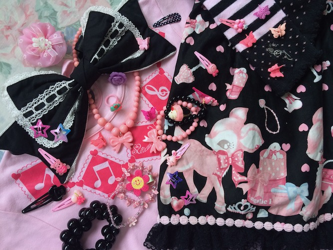 pink and black accessories and details