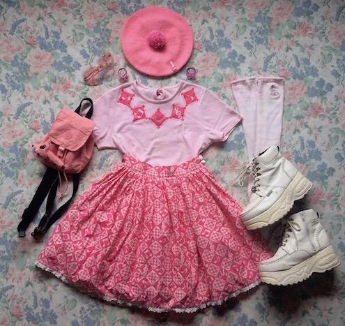 pink music skirt coord