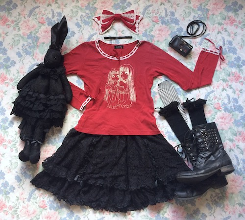 red and black valentines coord