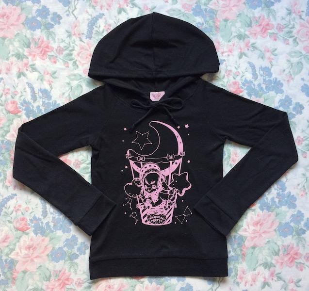 black and pink hoodie