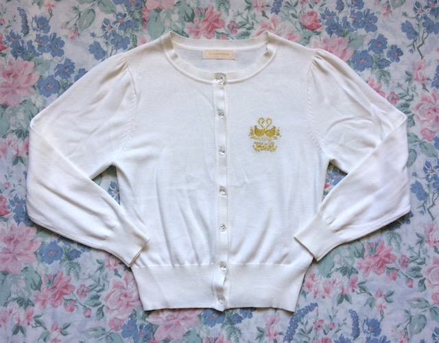 cream cardigan with gold embroidery