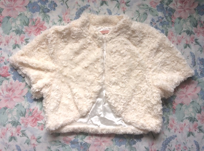 cream faux fur bolero