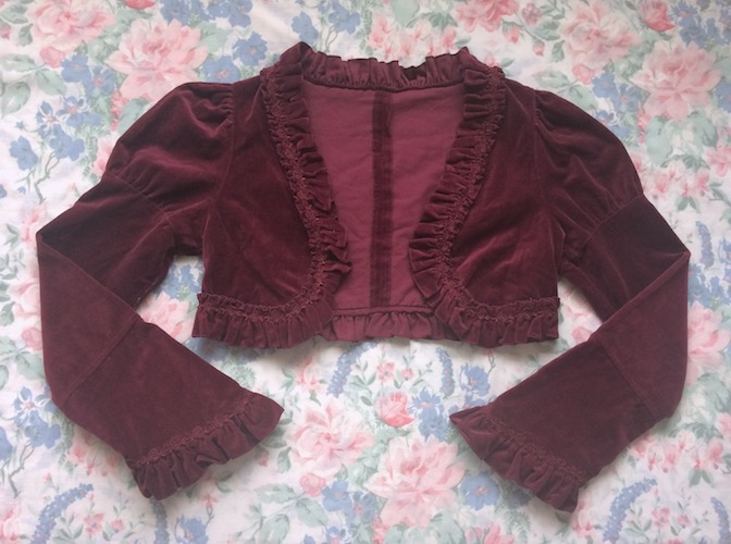 wine velvet long sleeve bolero