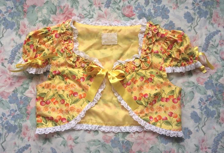 yellow chery print bolero
