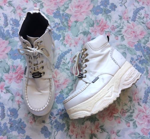 white chunky flatforms