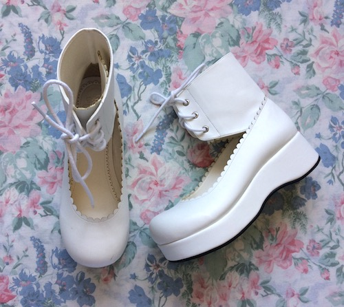white ankle lace up flatforms