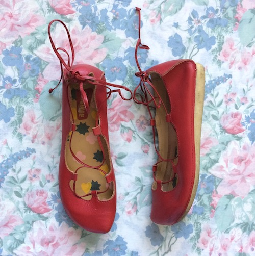 red lace up shoes