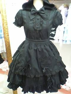 black hooded dress