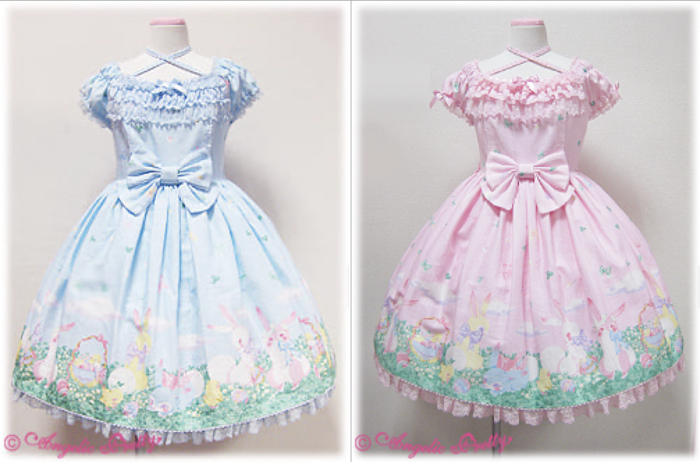 blue and pink dresses
