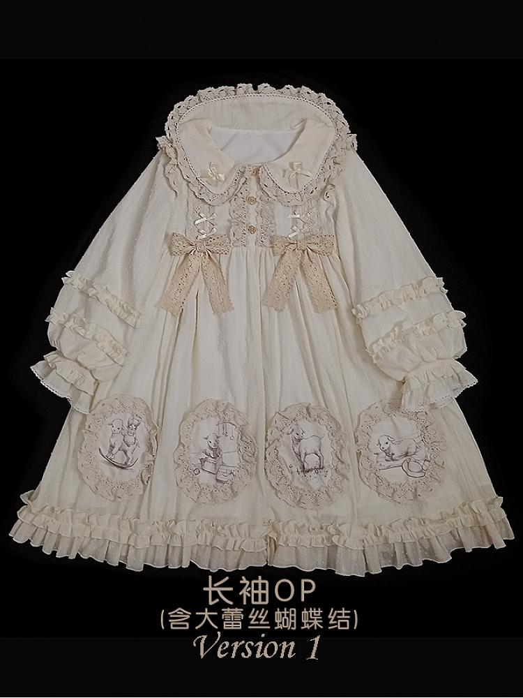 cream lamb dress